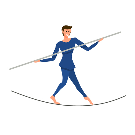 Circus artist on a tightly stretched rope with a pole in his hands. Boy is a balancer under the circus dome. Vector illustration