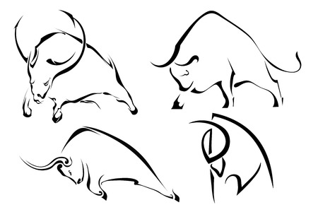 Set of black abstract images of wild bulls. Buffalo on a white background. Vector illustration Illustration