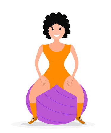 health and fitness: Flat style Sitting girl athlete with fitness ball. Color image of training young girl with fitball on white background. Vector illustration Illustration