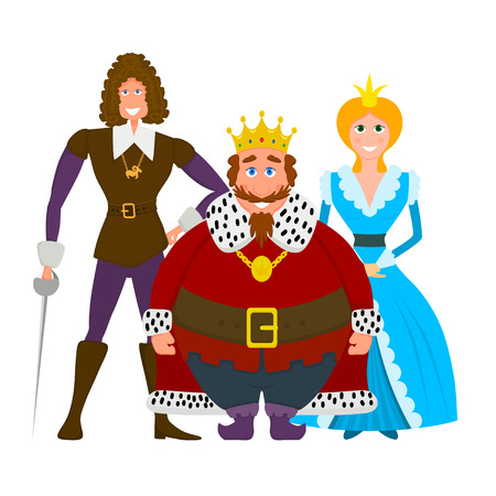 Color image of a royal family on a white background. Flat style king, princess and  prince. Vector illustration Illustration