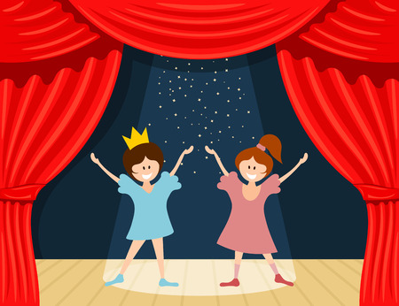 stage costume: Abstract childrens theater. Little girls on the stage of the theater. The play in the  kindergarten. Vector illustration