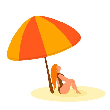Abstract color image of a sexy girl under an umbrella on the beach. Cartoon sitting girl.  Isolate. Vector illustration Illustration