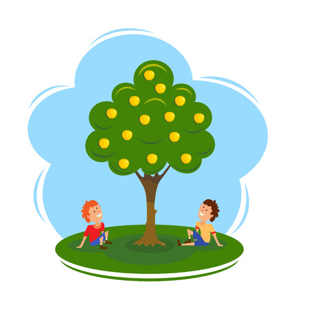 Boys near the apple tree. Cartoon vector illustration of an apple tree and two seated boys. Flat style. Vector drawing