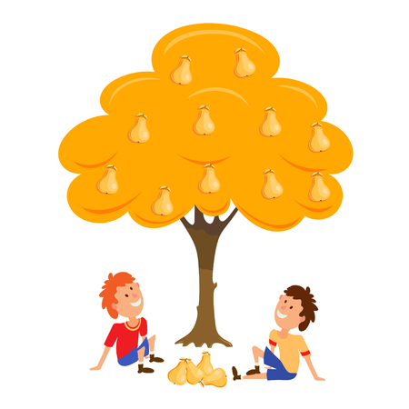 Two boys near the Tree pear. Cartoon vector illustration of an Tree pear and two seated boys. Flat style. Vector drawing