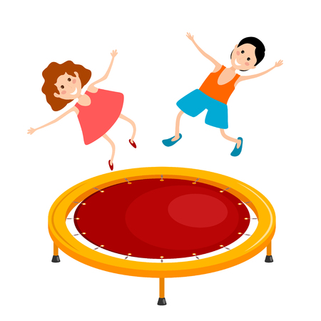gym equipment: Abstract cartoon illustration of a bright colored trampoline and children on a white background. Playing children in the air. Vector illustration