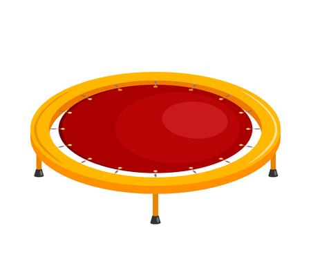 Bright children's trampoline on a white background. Sport equipment rubber trampoline on a white background. Vector illustration