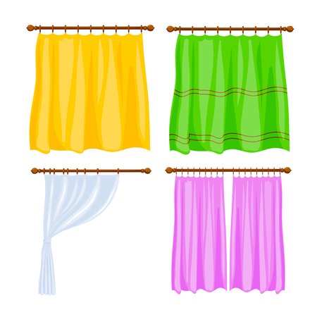 A Set Of Cardboard Colored Image Of Window Curtains On A White Background.  Simple Blind