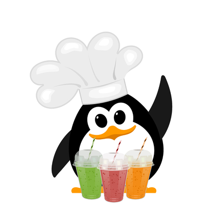Colorful image of a small cute penguin in a bell cap with a glass of colored smoothie on a white background. Hatchling of a penguin bird. Healthy food. Vector illustration