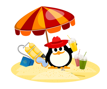 sunshade: Cartoon color image of a small penguin under a beach umbrella on vacation. Young child  of a penguin with scuba diving, mask, smoothies, passport on the beach. Vector  illustration