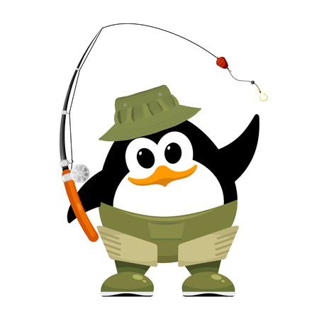 Abstract penguin in fishing rubber boots, hat and fishing rod on a white background. Cartoon illustration of a small penguin child on a fishing trip. Symbol of summer rest on the river. Hobby. Vector illustration