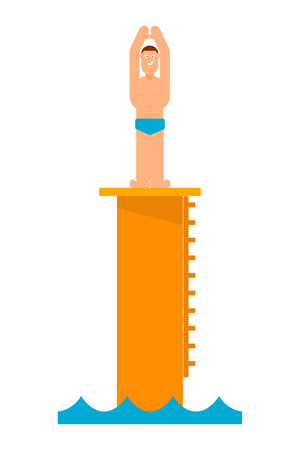 jumping into water: Abstract figure of a man preparing to jump into the water from the tower. Athlete before jumping into the pool. Competition in diving. Vector illustration