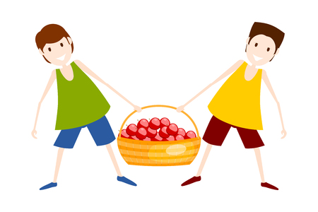 Two boys with a basket of red apples. Harvesting. Vector illustration Illustration