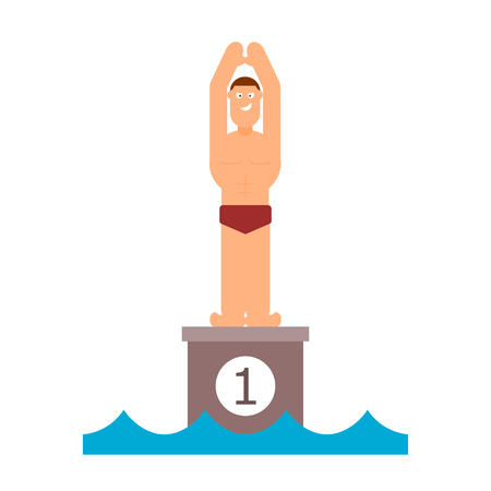 jumping into water: Abstract figure of a man preparing to jump into the water. Athlete before jumping into the pool. Swimming competition. Vector illustration