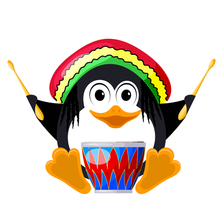 Penguin with a drum in a beret. The little penguin is rastaman. Music of reggae. Vector illustration