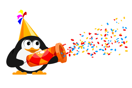 computer art: Colorful Popper and penguin on a white background. Cardboard popper - the concept of fun and celebration.  Confetti and popper on a white background, isolate. Vector illustration.