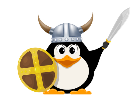 steel: Iittle penguin in a viking costume. Child penguin with a shield, sword and horned helmet on a white background. Costume for the performance. Vector illustration