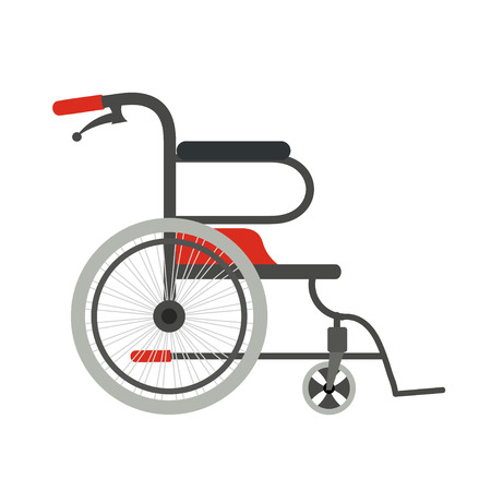 Wheelchair on a white background. Flat style wheelchair. The subject of medical  equipment is assistance to people with disabilities. Vector illustration Illustration