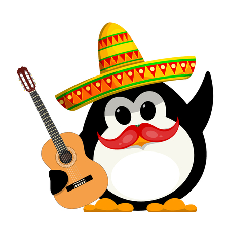 Penguin with a guitar and a sombrero. Cartoon color image of a young funny little penguin in Mexican style. Childrens costume of carnival. Vector illustration