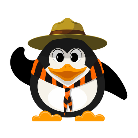 Young boy scout on white background. Little penguin scout with  hat and with a tie on a white background. Vector illustration Illustration