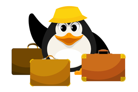 Young penguin in a yellow panama with three suitcases on a white background. Cartoon illustration of the beginning of the journey. Concept of summer holidays. Vector illustration