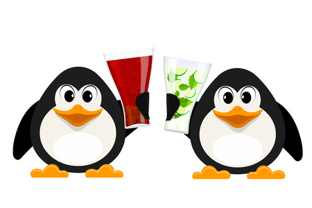 Two small penguins with cola glasses and non-alcoholic mojito. Cartoon style abstract animals with drinks. Vector illustration Illustration