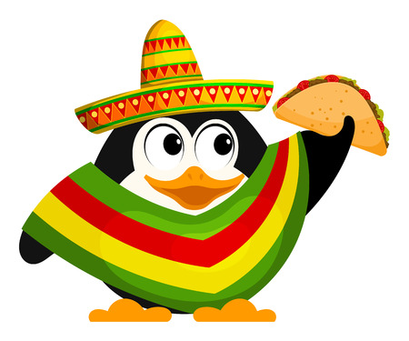 Cute little penguin with a poncho, sombrero and a taco. Mexican style. Cartoon vector illustration