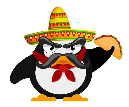 penguin with sombrero and a taco. Mexican style. Cartoon vector illustration