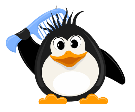 femine: Little cute penguin with a comb on a white background. Vector illustration Illustration