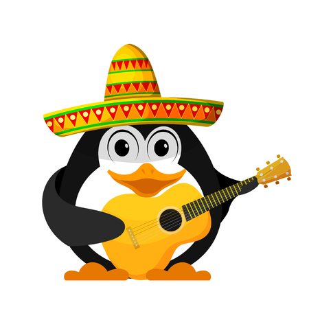 Penguin with a guitar and a sombrero. Cartoon image of a young funny little penguin in Mexican style. Vector illustration Illustration