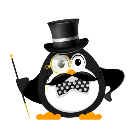 Gentleman with a bowler hat, with a cane, with a monocle and a bow tie, on a white background. Young little penguin is a gentleman. Vector illustration