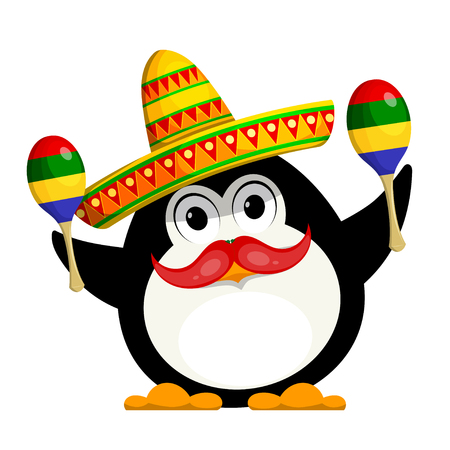 Penguin with a Maracas and a sombrero. Cartoon color image of a young funny little penguin in Mexican style. Childrens costume of carnival. Vector illustration Illustration