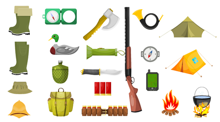 attribute: Set of hunting theme icons. Isolated on white background. Vector illustration.