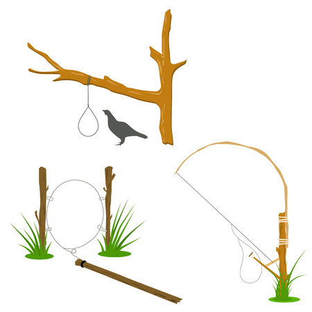 Set of hunting traps. Metal hinges on the tree - hunting traps on a white background. Vector illustration