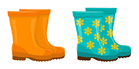 Set of colored rubber boots on a white background. A garment for the garden, vegetable  garden and farm. Vector illustration Illustration