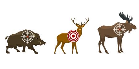 Set of a hunter target. Wild animals - victim. Vector illustration.