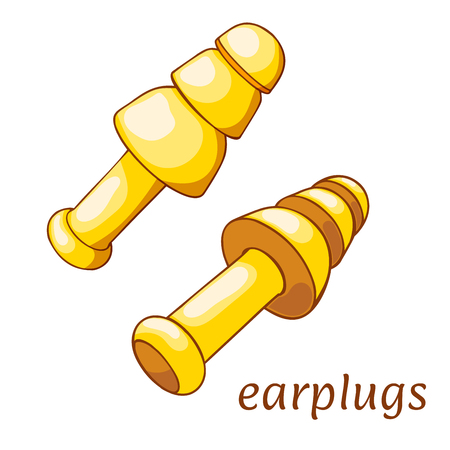 Ear plugs on a white background. Hearing protection earplugs in Cartoon style. Vector illustration Stock fotó - 91188309