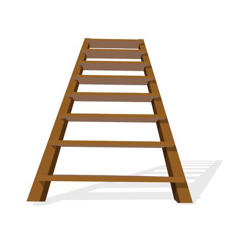 白い背景に現実的な木製のはしご。ベクトルイラストレーション
