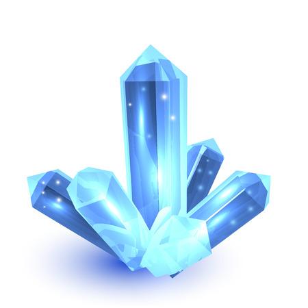 Blue crystal on white background nature element vector illustration