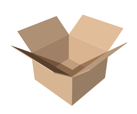 cardboard paper box on white background vector illustration