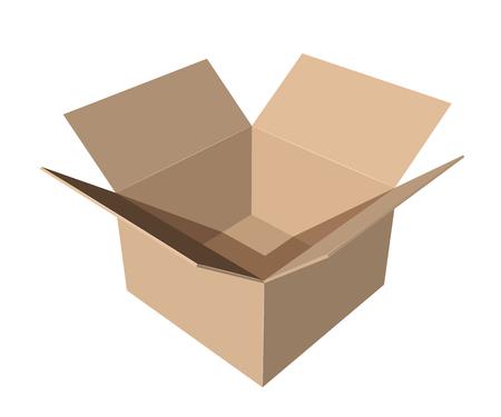 cardboard paper box on white background vector illustration