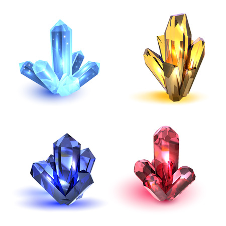 Set of crystals. Multicolored realistic crystals with highlights on a white background. Vector illustration Illustration