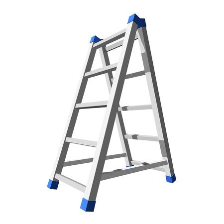 白い背景に現実的な金属の階段。ベクトルイラスト