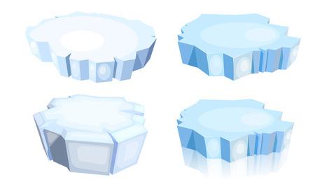 Set Eisschollen. Karikaturbild einer blauen Eisscholle auf einem weißen Hintergrund. Vektor-Illustration