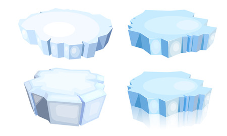 Set of ice floes.  Cartoon image of a blue ice floe on a white background. Vector illustration