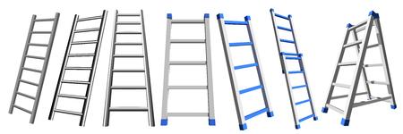 金属製の階段白い背景にアルミ階段のセット。ベクトルラダーイラスト  イラスト・ベクター素材