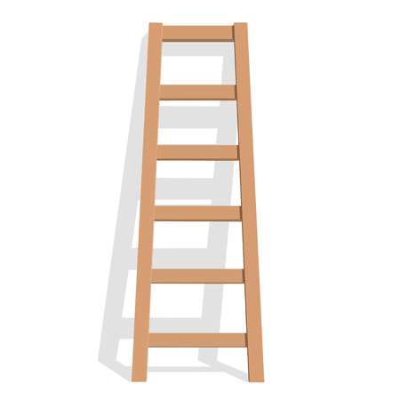 Realistic wooden ladder on a white background. Vector Illustration