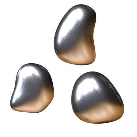 Set of drops of mercury. Vector illustration  イラスト・ベクター素材