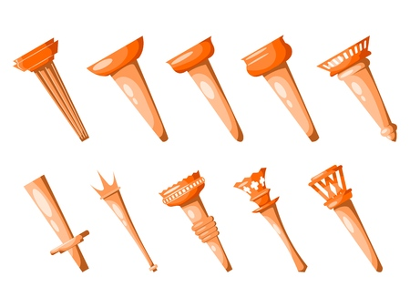 Set of cardboard images of medieval torches on a white background. Vector illustration of ancient torches, design element for games