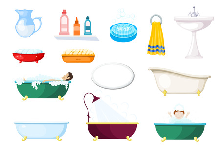 Set of items for the bathroom. Various baths and hygiene items on a white background. Vector illustration