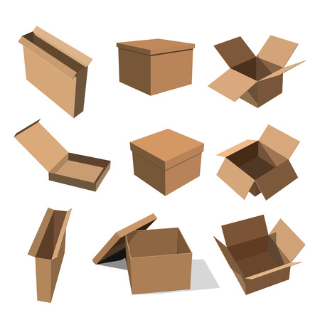 Set of paper yellow boxes for packing goods on a white background. Vector illustration of a flat style boxes for design Stock Photo